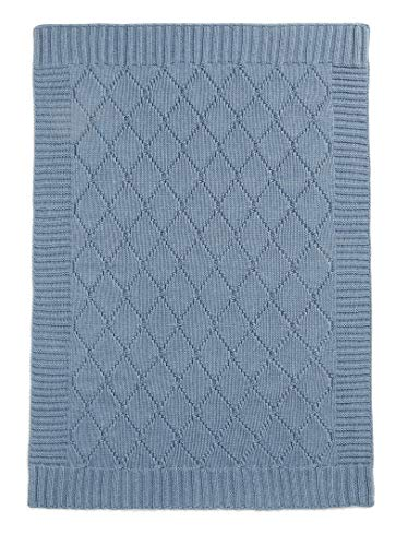 Mamas & Papas Knitted Blanket, Denim Blue Cable, Nursery Bedding, Pram/Pushchair/Buggy Blanket from Mamas & Papas