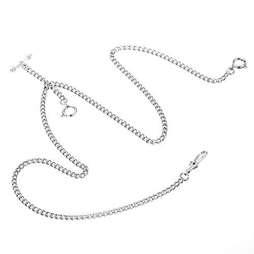 ManChDa Unique Silver Double Albert T-Bar Pocket Watch Chain 16 inch with 3 Hook for Men Women from ManChDa
