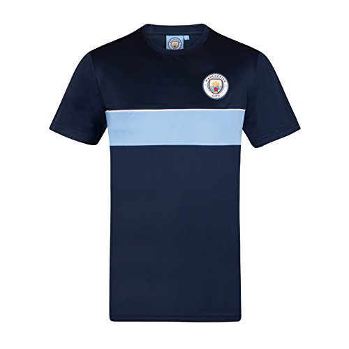 Manchester City FC Official Gift Boys Poly Kit T-Shirt Navy Sky Blue 6-7 Years from Manchester City F.C.