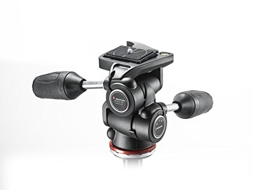 Manfrotto MH804-3W, MK II 3 Way Head in Adapto w/Retractable Levers, Independent Axis Control, Ergonomic Rubber Handle, for DSLR, CSC, Mirrorless from Manfrotto