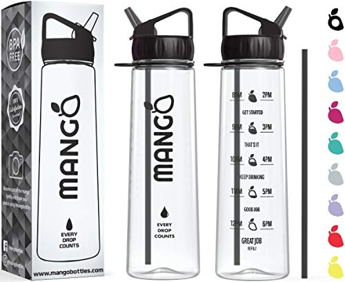Mango Sports Motivational Water Bottle With Straw and Times To drink - BPA Free With Flip Nozzle and Leakproof cap [900ml/32oz] (Black, 900ml/32oz) from Mango