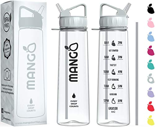Mango Sports Motivational Water Bottle With Straw and Times To drink - BPA Free With Flip Nozzle and Leakproof cap [900ml/32oz] from Mango