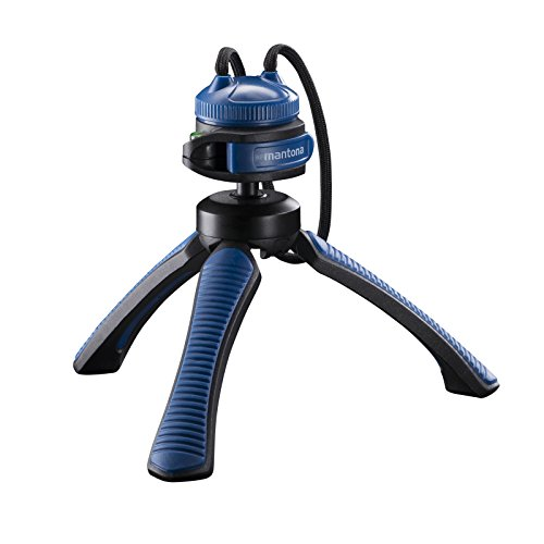 Mantona Kaleido Mini 3-Leg Table and Hand Tripod with Ball Head – 1/4 Inch Connector, Spirit Level and Hands Chlafe – Ocean Blue from Mantona
