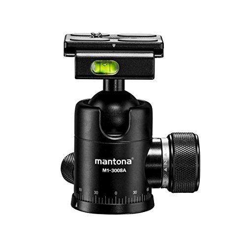 Mantona Onyx 8 Arca Swiss Ball Head (M1-3008A) compatible with 50 mm quick-release plates, professional manufacture for DSLR, mirrorless cameras, system digital cameras, digital cameras and camcorders, black from Mantona