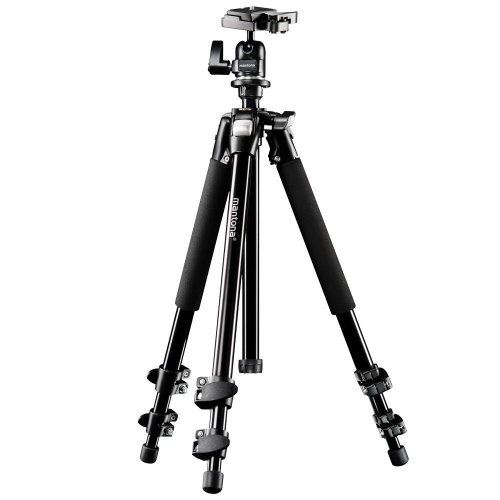 Mantona Scout tripod (max. working height 144 cm, inkl. ball head with quick release plate compatible with Manfrotto PL200, max. capacity 5kg, built-in bubble level) from Mantona