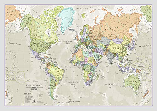 Classic World Map – Maps International - Front Lamination - A1 84.1 x 59.4 cm from Maps International