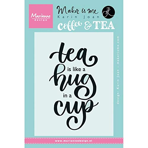 Marianne Design Tea is Like A Hug in A Cup Clear Stamp, Synthetic Material, 13.6 x 9.4 x 0.3 cm from Marianne Design