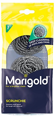 Marigold Scrunchie Stainless Steel Scourer, 12 Packs of 3 Scourers from Marigold