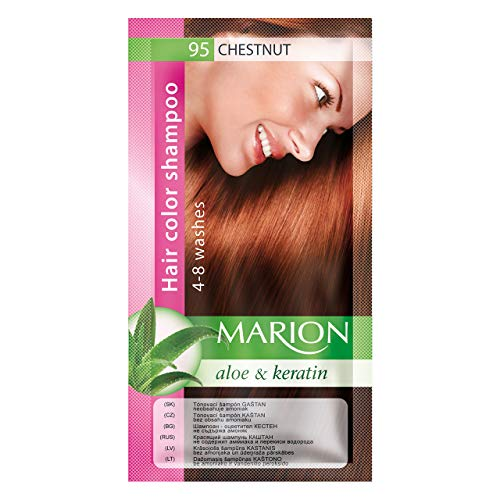 Marion Hair Color Shampoo in Sachet Lasting 4 to 8 Washes Aloe and Keratin - 95 Medium Chestnut from Marion