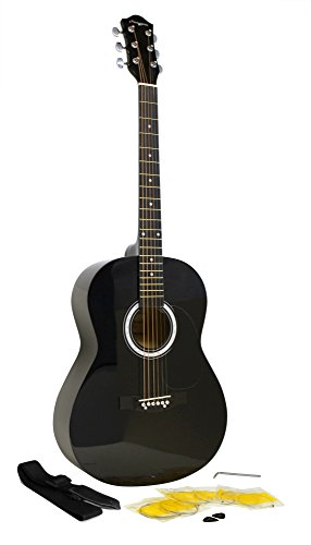 Martin Smith W-100 Acoustic Guitar Package with Strings, Plecs, Strap - Black from Martin Smith