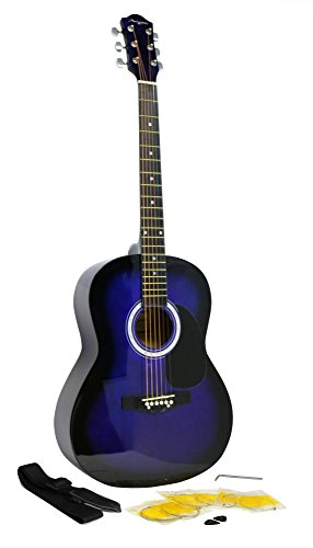 Martin Smith W-100 Acoustic Guitar Package with Strings, Plecs, Strap - Blue from Martin Smith