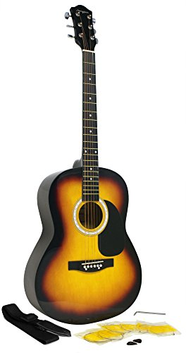 Martin Smith W-100 Acoustic Guitar Package with Strings, Plecs, Strap - Sunburst from Martin Smith