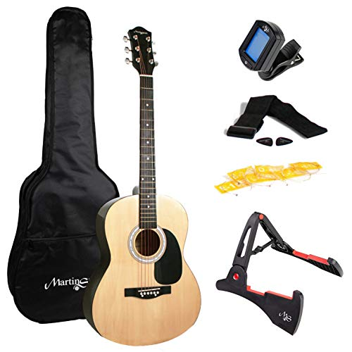 Martin Smith W-101-PK Full Size Acoustic Guitar with guitar stand, tuner, gig bag, strap, plecs and strings - Natural from Martin Smith