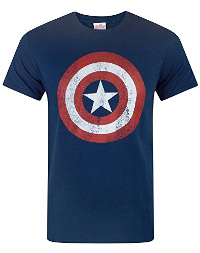 Marvel Comics Men's Captain America Shield Distressed Blue T-shirt Navy Small from Marvel