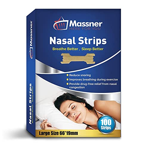 100 Large Nasal Strips Anti-Snoring Aid for Fast Relief. Instantly Stops Snoring for Better Sleep, Less Congestion. Improved Air Flow, Gentle Spring Like Action. 66x19mm, Big 3 Month Supply from Massner
