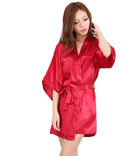 Matissa Nightwear Kimono Sexy Nightwear Silk Satin Lace Dressing Gown Bath  Robe G String (Long 0aee65631