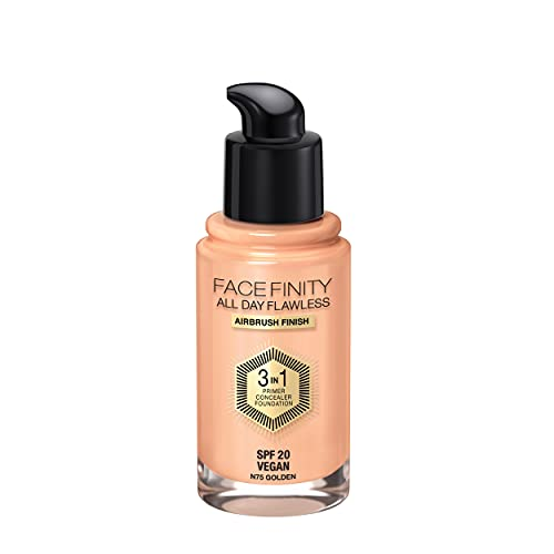Max Factor Facefinity 3-in-1 All Day Flawless Liquid Foundation, SPF 20 - 75 Golden, 30 ml from Max Factor