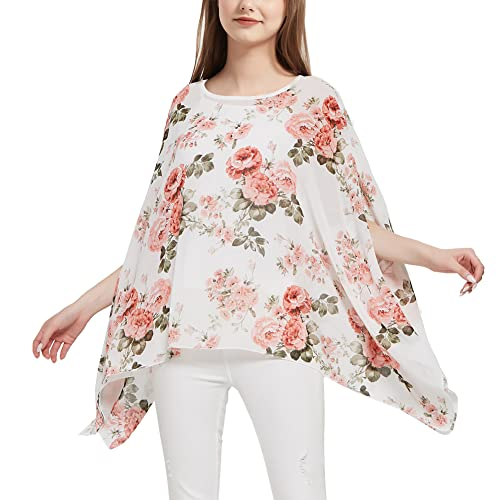 Womens Ladies Baggy Oversize Plus Size Batwing Tunic Top Blouse Floral Chiffon Kaftan (Rose Floral, UK 24) from Max Hsuan
