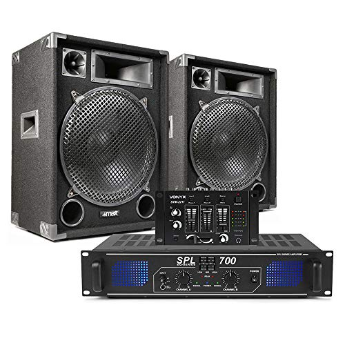 2x 15 Inch PA DJ Party Sound System Speakers + Power Amplifier + Mixer 2000W from Skytec