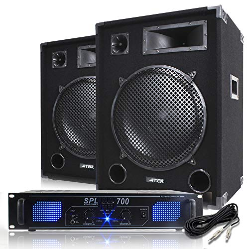 Max 15 inch PA Speakers with Power Amplifier and Cable Party Disco DJ System 2000W from Skytec