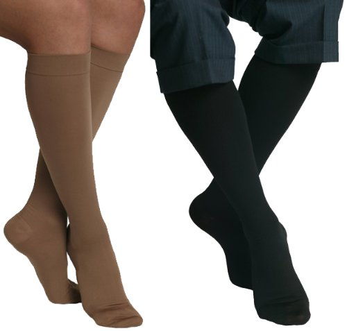 MAXAR 12-15 mmHg Medium Beige/Black H-170 Unisex Dress and Travel Support Socks - Pack of 2 from Maxar