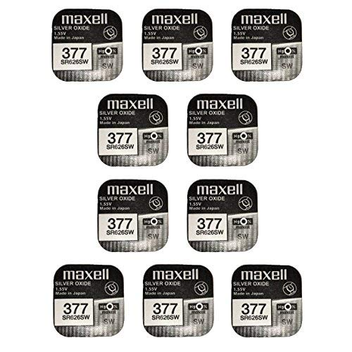 Maxell SR626SW 377 Pack of 10 Silver Oxide Batteries from Maxell