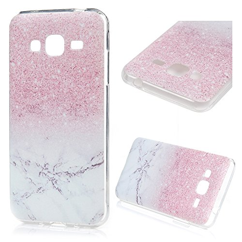 MAXFE.CO Made for Samsung Galaxy J3/J3 (2016) Case - Colorful Pattern Design Transparent TPU Case, 5.0 Inch, Ultra Thin Slim Fit Soft Flexible Drop Protection Shockproof Protective Protector Cover for Samsung Galaxy 2016 Version J3 / J3 - Pink Marble Pattern from Maxfe.co