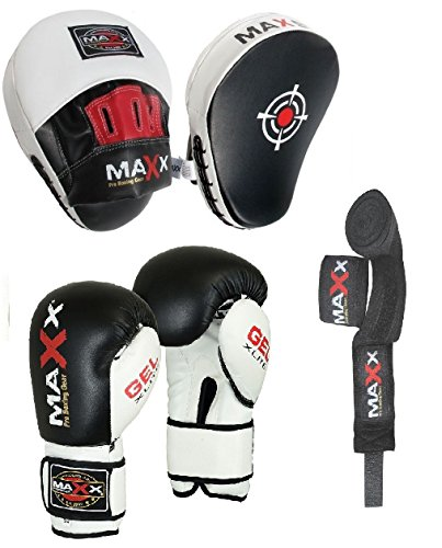 Maxx BOXING GLOVES & LEATHER CURVED FOCUS PADS BLUE WHITE HAND WRAPE MMA Boxing PINK (Black & White, 6oz) from Maxx Gloves