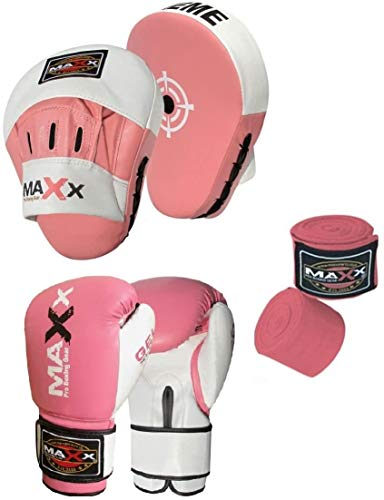 Maxx BOXING GLOVES & LEATHER CURVED FOCUS PADS BLUE WHITE HAND WRAPE MMA Boxing PINK (Pink & White, 12oz) from Maxx Gloves