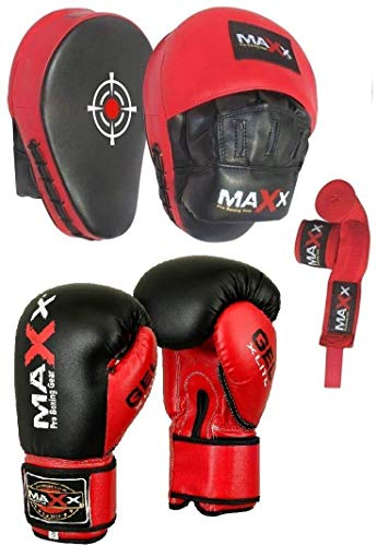 Blk/Red Curved Focus pads, Hook & Jab Pads with Gloves & FREE hand wraps (12oz Gloves) from MAXX NEW YORK