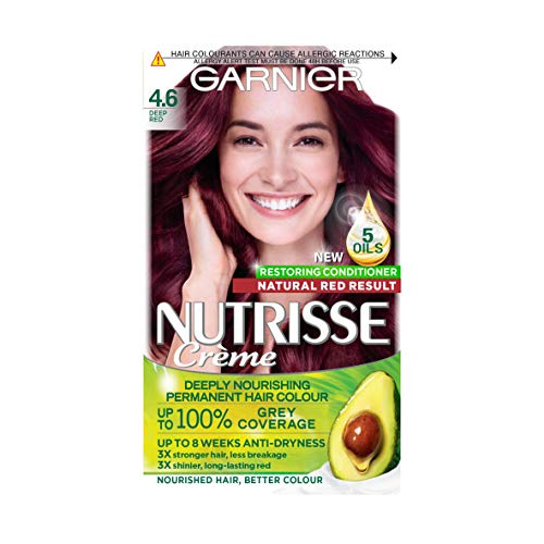 Garnier Nutrisse Red Hair Dye Permanent, Up to 100 Percent Grey Hair Coverage, with 4 Oils Conditioner - 4.6 Deep Red from Garnier