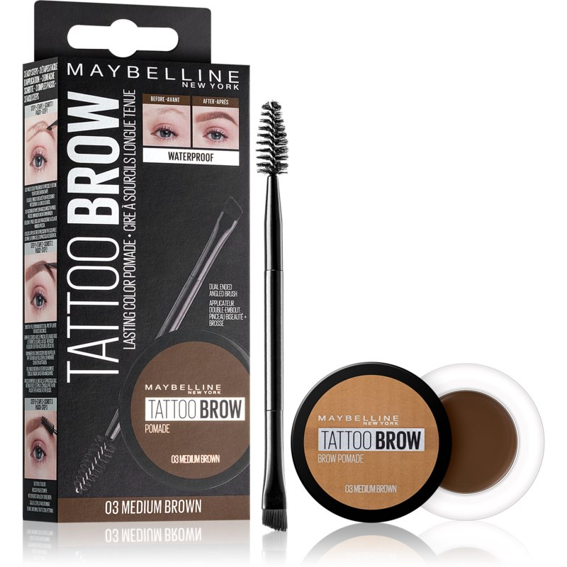 fdbd8fa0944 Maybelline Brow tattoo Gel Eyebrow Pomade Shade 03 Medium Brown from  Maybelline