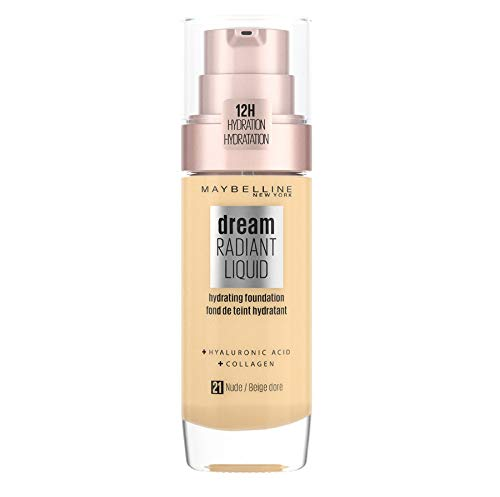 Maybelline Foundation, Dream Radiant Liquid Hydrating Foundation with Hyaluronic Acid and Collagen - Lightweight, Medium Coverage Up to 12 Hour Hydration - 21 Nude from Maybelline