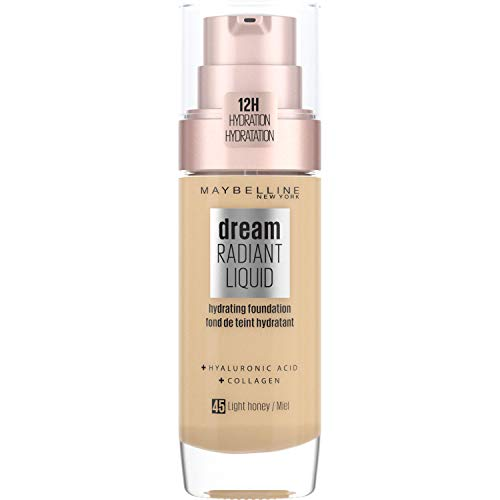 Maybelline Foundation, Dream Radiant Liquid Hydrating Foundation with Hyaluronic Acid and Collagen - Lightweight, Medium Coverage Up to 12 Hour Hydration - 45 Light Honey from Maybelline