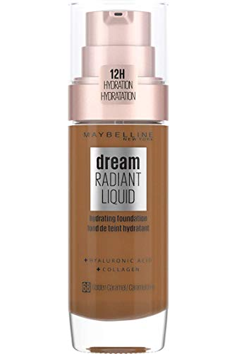 Maybelline Foundation, Dream Radiant Liquid Hydrating Foundation with Hyaluronic Acid and Collagen - Lightweight, Medium Coverage Up to 12 Hour Hydration - 68 Golden Caramel from Maybelline