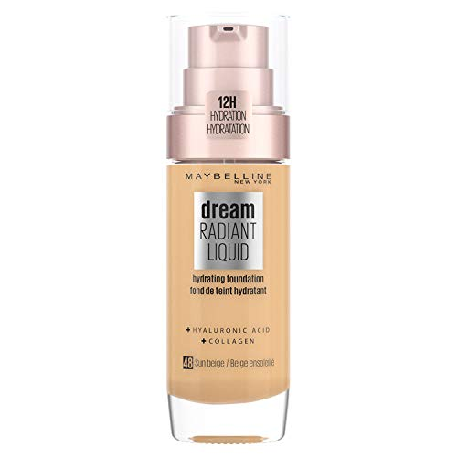 Maybelline Foundation, Dream Radiant Liquid Hydrating Foundation with Hyaluronic Acid and Collagen - Lightweight, Medium Coverage Up to 12 Hour Hydration - 48 Sun Beige from Maybelline