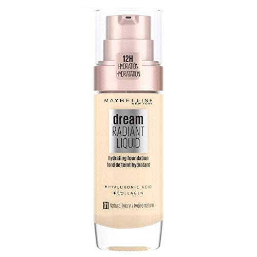Maybelline Foundation, Dream Radiant Liquid Hydrating Foundation with Hyaluronic Acid and Collagen - Lightweight, Medium Coverage Up to 12 Hour Hydration - 01 Natural Ivory from Maybelline