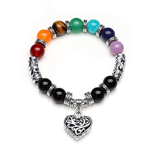 10 MM Beads Yoga Balancing Reiki Healing Bracelet 7 Chakra Antique Silver Colour Hollow heart Bracelet from Mayting
