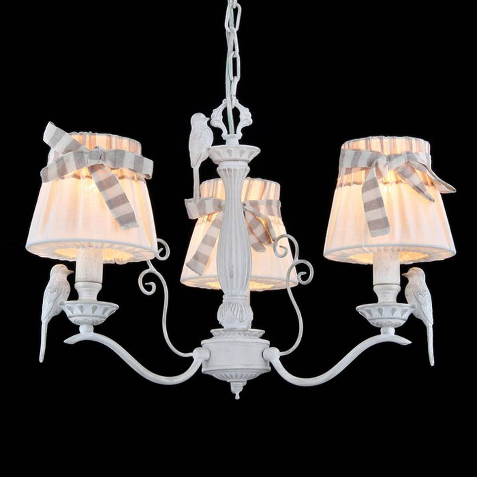 3-bulb hanging lamp Bird with linen lampshades from Maytoni