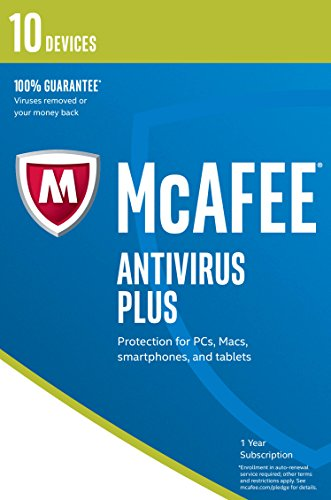 McAfee 2017 AntiVirus Plus | 10 Devices | 1 Year | PC/Mac/Android | Download from McAfee