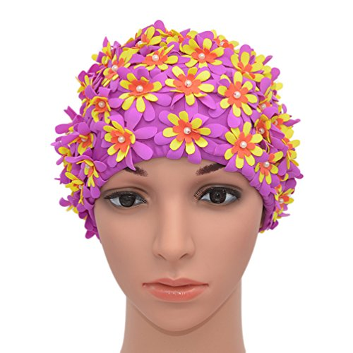 Medifier Swim cap Floral Petal Retro Style Bathing Caps for Women Purple from Medifier