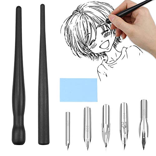 Meetory Comic Pen Holders Dip Pen with 5pcs Nibs Eraser Set Drawings Kit For Cartoonists and Artists from Meetory