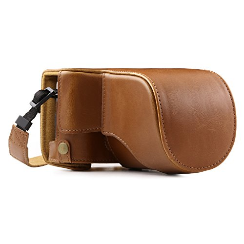 MegaGear MG1003 Ever Ready Leather Case and Strap with Battery Access for Fujifilm X-A10 Camera - Light Brown from MegaGear