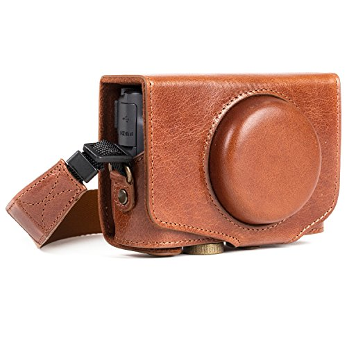 MegaGear MG1177 Canon PowerShot SX740 HS, SX730 HS Ever Ready Genuine Leather Camera Case with Strap - Dark Brown from MegaGear