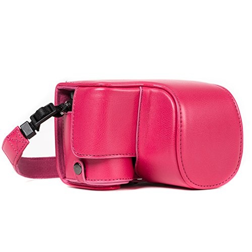 MegaGear MG1234 Ever Ready Leather Case and Strap with Battery Access for Sony Alpha A6500 Camera - Hot Pink from MegaGear