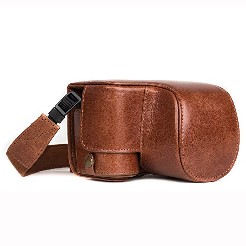 MegaGear MG1237 Ever Ready Genuine Leather Case and Strap with Battery Access for Sony Alpha A6500 Camera - Brown from MegaGear