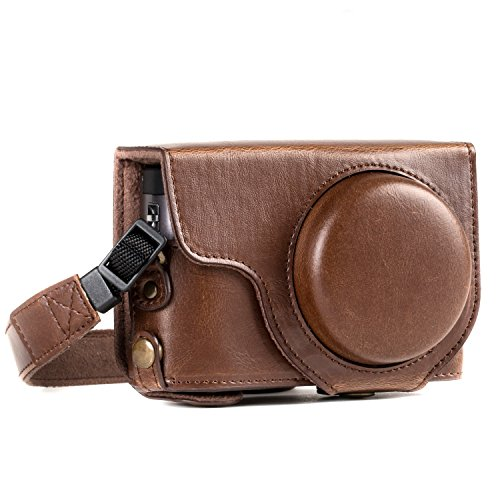 MegaGear MG1259 Ever Ready Leather Camera Case compatible with Panasonic Lumix DC-TZ95, DC-TZ90 - Dark Brown from MegaGear