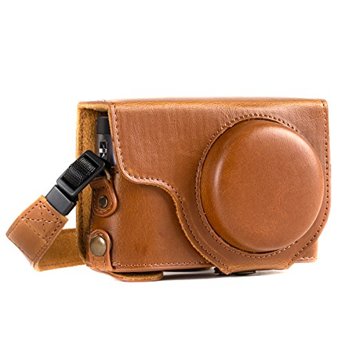 MegaGear MG1260 Ever Ready Leather Camera Case compatible with Panasonic Lumix DC-TZ95, DC-TZ90 - Light Brown from MegaGear