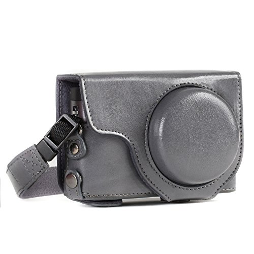 MegaGear MG1261 Ever Ready Leather Camera Case compatible with Panasonic Lumix DC-TZ95, DC-TZ90 - Gray from MegaGear