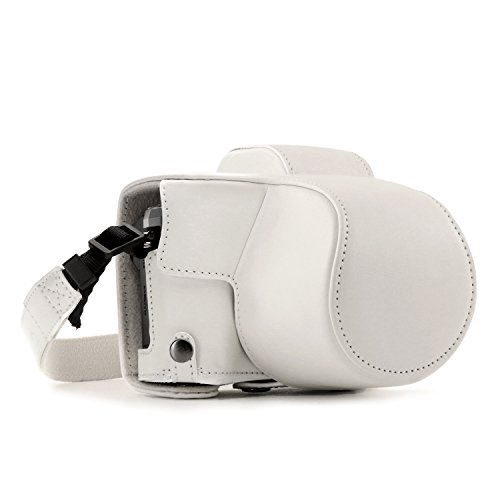 MegaGear MG1349 Ever Ready Leather Case and Strap with Battery Access for Olympus OM-D E-M10 Mark III Camera - White from MegaGear